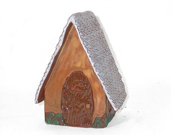 Medium Fairy House with White Roof
