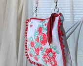 Purse, Floral Purse, Spring Purse, Vintage Tablecloth, Strawberry Tablecloth, Small Cross Body Bag, Cross Body Purse, Zip Top Sling Purse