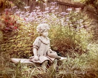 Little Girl On A Bench Garden Statue Still Life, Nature, Purple Flowers,  Cottage