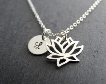 Lotus Flower Necklace Lotus Charm Silver Lotus Necklace Yoga Necklace Personalized Lotus necklace