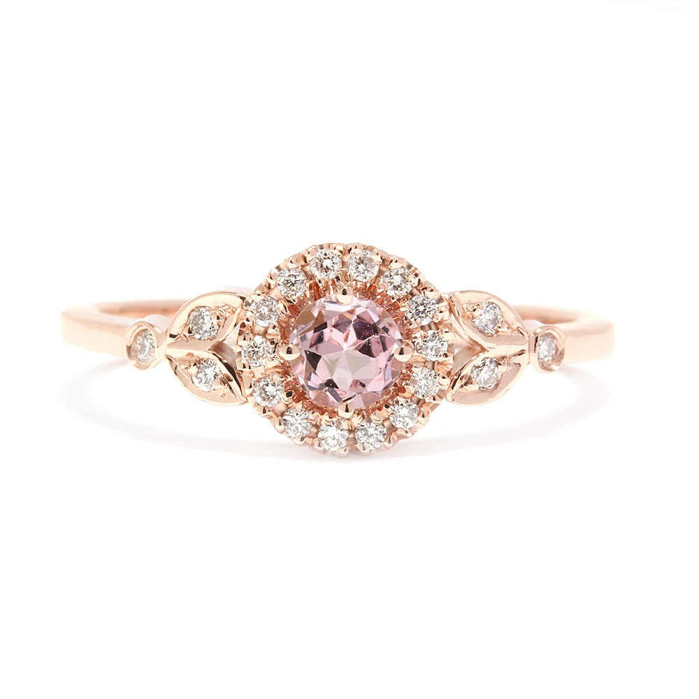 gold engagement ring pink tourmaline by