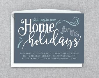 Home for the Holidays Christmas Party Invitation - Custom Printable PDF