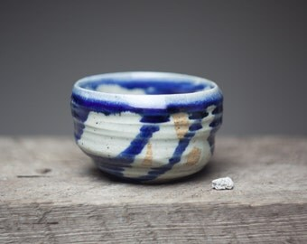 Wood fired stoneware blue glazed ceramic  pottery tea bowl