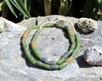 Vintage African Trade Beads, Pressed Glass, Sand Cast, Beads Traveling the Globe, Emerald Green T.38