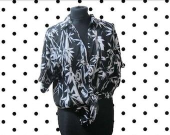 Black and white Hawaiian style shirt