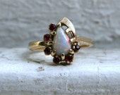 Sweet Vintage 14K Yellow Gold Opal and Ruby Ring.
