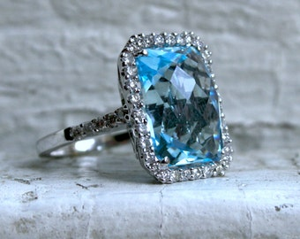 RESERVED - Vintage 18K White Gold Blue Topaz and Diamond Halo Ring - 10.84ct.