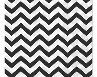 100 Black Chevron Paper Bags, 5x7 inches with Chevron Stripes on White Paper - Flat Merchandise Bags