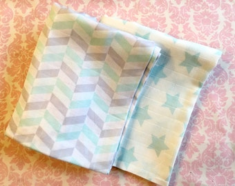 Set of two swaddle blankets- aqua stars & arrows/ cotton blanket/ receiving blanket