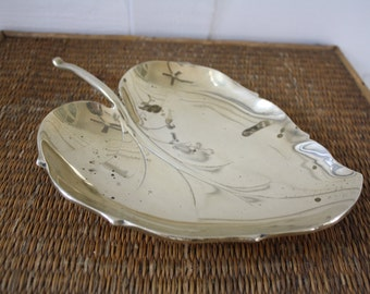 brass leaf, solid brass leaf, brass lotus leaf, leaf, brass leaf tray, catch all, brass catch all