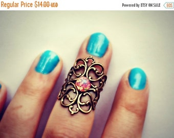 FALL SALE knuckle ring in pink opal, midi ring,  above the knuckle ring, pink fire opal ring, antique brass ring, unique ring