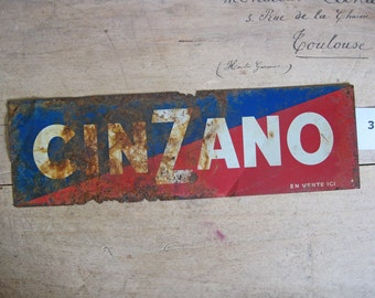 Cinzano French advertising sign, rusty tin plaques LAST ONE