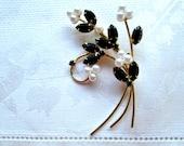 Mid Century Brooch Floral Spray Black Marquise Open Back Rhinestones Pearls