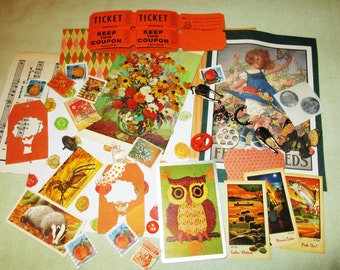 Orange Mixed Media Altered Art Inspiration Kit - 50 pcs - Found Objects - Vintage & Vintage Inspired