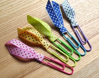Rainbow Planner Clips, Paper Clips, Planner Addict Gift, Ribbon Clips, Organiser Tools, Cute Stationary, Gift for Mum, Spotty Ribbon