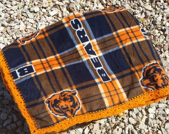 Chicago Bears Crocheted Fleece Blanket