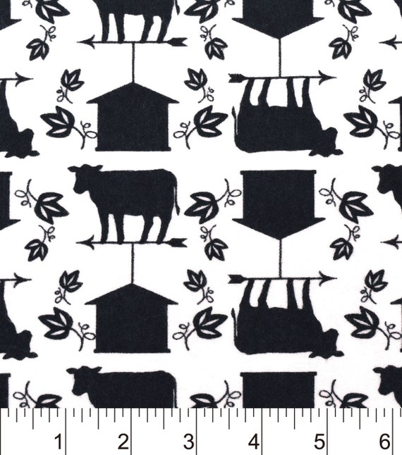 Snuggle Flannel Prints Black White Barnyard Sold By The