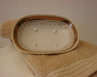 Antique Vintage White and Gold Florentine Hand Painted Soap Trinket Dish