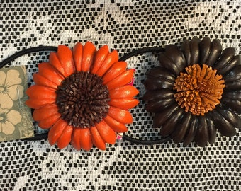 Sarah's leather sunflower  ponytail holder and hair ties