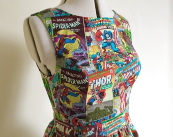 Comic book dress-pin up dress-retro, superhero, 50's style,  Rockabilly