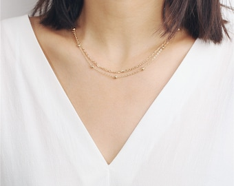 Delicate simple everyday layered necklace - satellite chain - plain chain