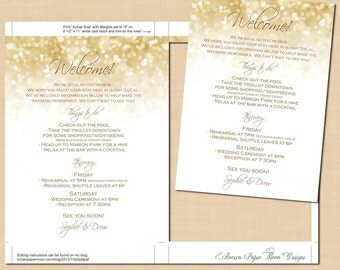 White Gold Sparkles Welcome Letter, Destination Wedding Itinerary, Hotel, (5x7, Portrait): Text-Editable in Word, Printable Instant Download