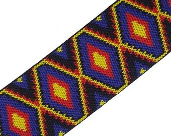 Geometric Aztec Tribal Rubber Elastic Ribbon Trim 2 Yards