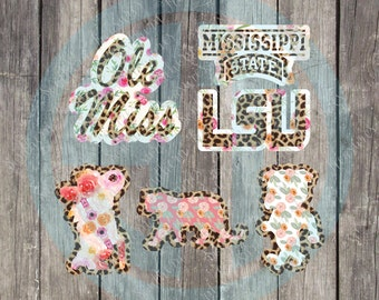 SEC Collegiate Leopard Watercolor printed decal or heat transfer (iron on)Ole Miss, Mississippi State, LSU, Col Reb, Bully, MIke the Tiger