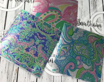 Glitter MORE Lilly Pulitzer Outdoor Decal Adhesive Vinyl 12x12 sheets  .... Please read item description before purchase