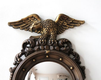 Nautical Americana vintage convex mirror / beach house cabin decor / maritime boat inspired decor / retro mirror wall hanging / porthole