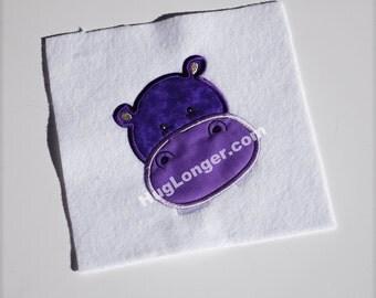 Applique Hippo embroidery file HL1064 animal applique zoo applique