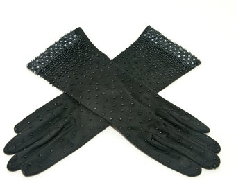 Vintage Black Beaded Evening Gloves, 1950's Beaded Black Evening Gloves