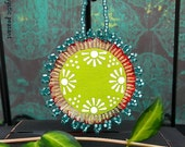 Moroccan Style Beaded Ornament - Teal Lime Red Boho Beaded Decoration - Beaded Textile Ornament - Hand Painted Fabric