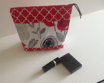 Cosmetic Bag, Make-up Bag, zippered pouch, red and white foral small bag