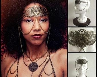 Face chain 'Filigree', head chain, headchain, facechain, mask, chain mask, headress, art nouveau * Elegant Curiosities *