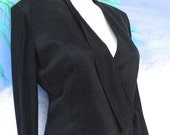 30% OFF Platinum Black Wrap Suede Like Crop Vintage Jacket, Sheer Sleeves, Dorothy Schoelen, sz xs, s