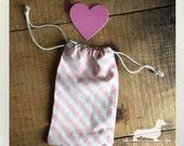 CLEARANCE! Pink Stripes. Muslin Bag -- (Vintage-Style, Rustic, Decoration, Gift Wrap, Bridal Shower Favor, Baby Shower Favor, Party Favor)