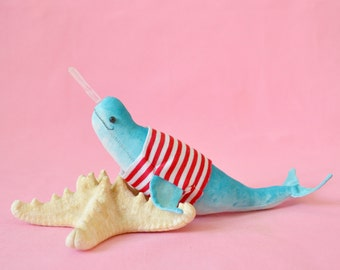 SALE!!! Narwhal in a t-shirt -  art textile toy - nautical home decore