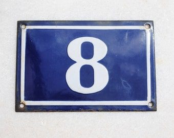 Vintage French enamel cobalt blue and white house number plaque - number 8