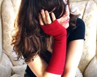 Red CASHMERE Gloves - fingerless gloves for women
