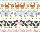 Barnyard Boogie by Quilting Treasures - Farm Animal Stripe -  A-7378-02 - 1 yard