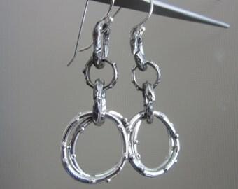 Bubbles Earrings - Pinned Dotted Dangle Earrings - Rustic style earrings