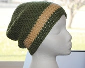 sage green and tan crochet adult hat/beanie