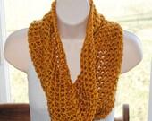golden yellow crochet infinity neckwarmer/cowl