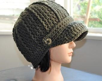 olive green crochet adult newsboy hat