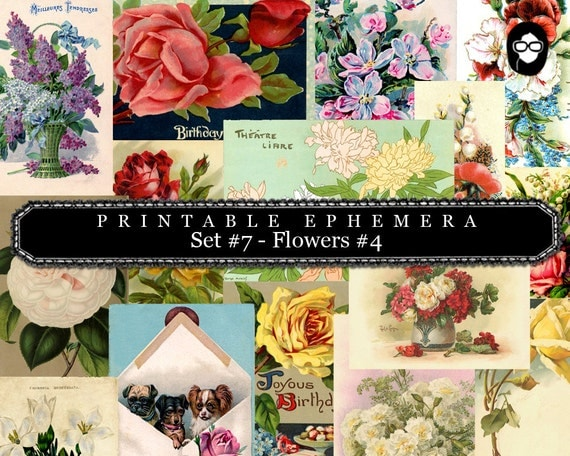 Roses Clipart Floral - Printable Ephemera - Set #7 Flowers #4 - 30 Page Instant Download - ephemera pack, ephemera kit, junk journal kit