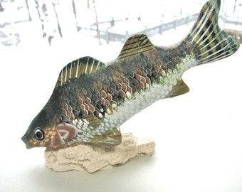 Carved and handpainted wooden fish, 5 and 1/2 inches long, 4 and 1/4 inches high