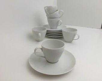 SALE Vintage Mid Century Danish Modern Bavaria China Demitasse White China  Cup and Saucer Set