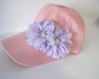 Youth Toddler Pink Baseball Cap with Lavender Chiffon Flowers and Rhinestone Accents for the Girlie Girl