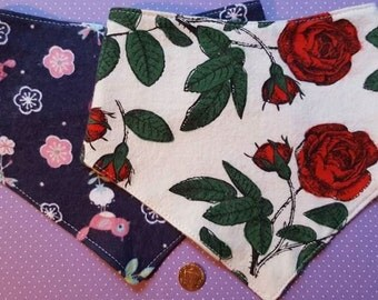 Girl set (2 floral) or Boy set (foxes & camo) of bandana dribble bibs with adjustable snaps. handkerchief, rose, bird, flower, owl, coon